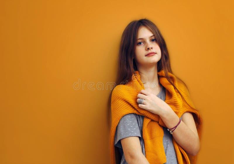 O azul eyed a menina tímida de cabelo marrom com cabelo de fluxo em uma camiseta em um marrom fotos de stock