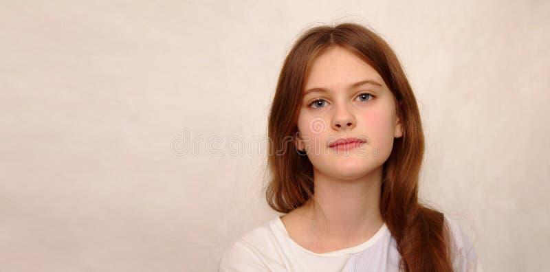 o azul eyed a menina tímida de cabelo marrom no t-shirt Tiro modelo do estúdio fotos de stock
