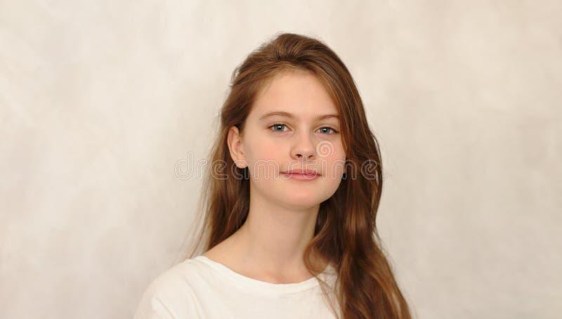 o azul eyed a menina tímida de cabelo marrom no t-shirt Tiro modelo do estúdio fotografia de stock royalty free