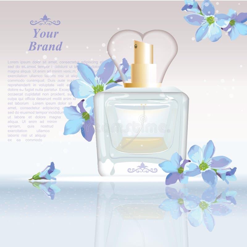 O azul floresce anúncios cosméticos molde da garrafa de perfume, zombaria da gota acima no fundo do brilho Lugar para o texto do  ilustração stock