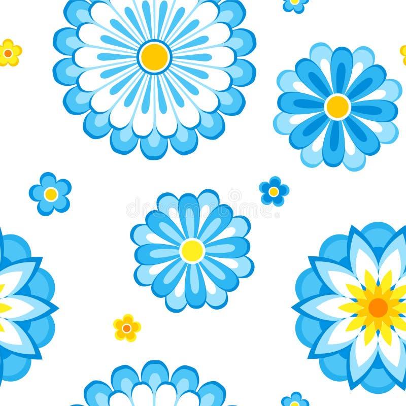 O azul floresce o teste padrão sem emenda ilustração stock
