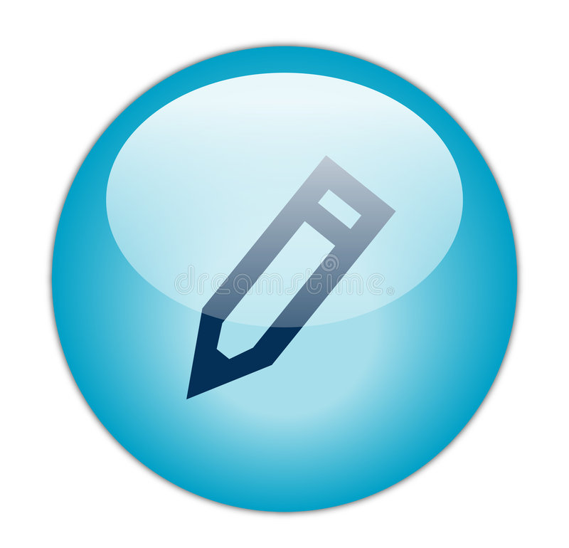 O azul Glassy edita o ícone ilustração royalty free