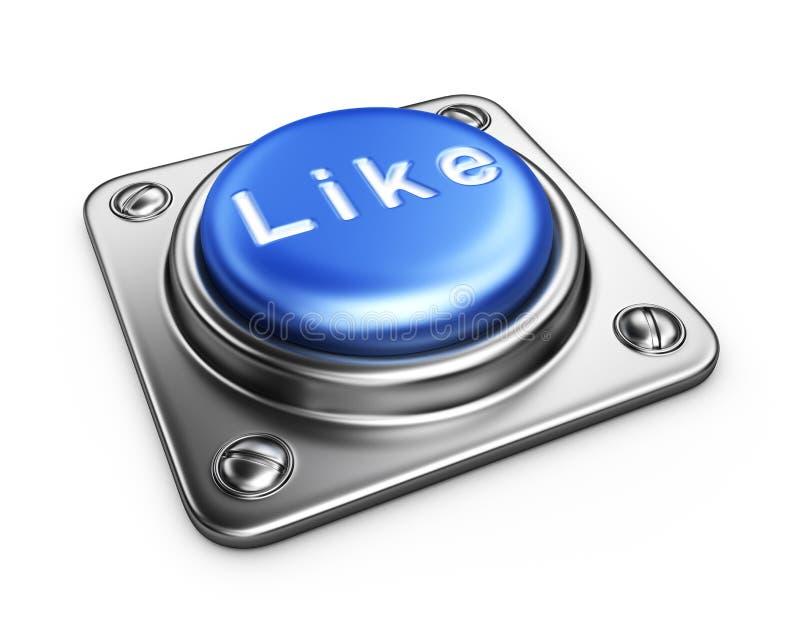 O azul GOSTA do botão. ícone 3D isolado ilustração stock