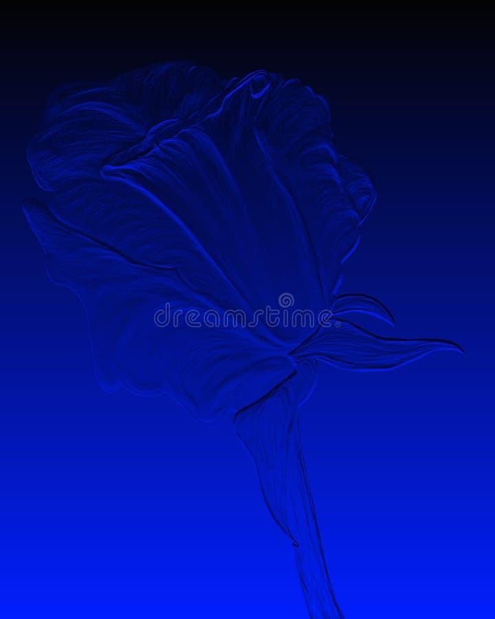 O azul gravado levantou-se ilustração do vetor