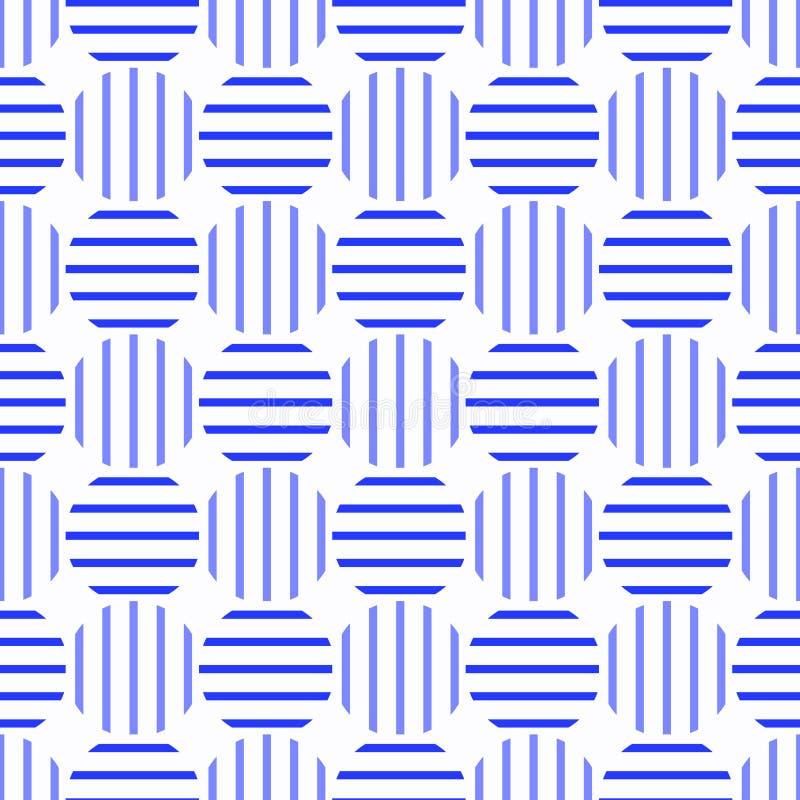 O azul listrado circunda o teste padrão sem emenda ilustração do vetor
