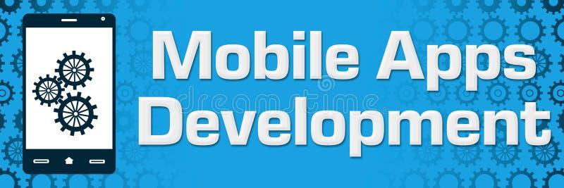 O azul móvel do desenvolvimento de Apps alinha o fundo horizontal ilustração do vetor