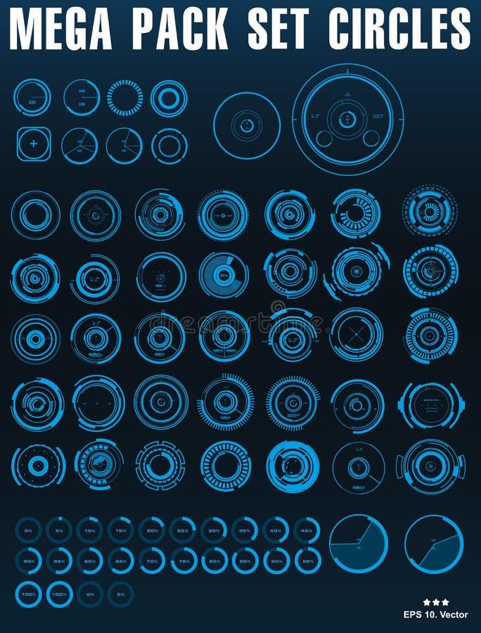 O azul mega do grupo do bloco circunda a relação futurista do hud ilustração do vetor
