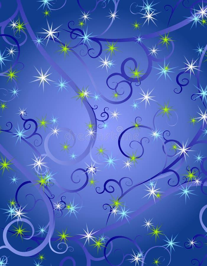 O azul roda fundo do Natal das estrelas ilustração stock