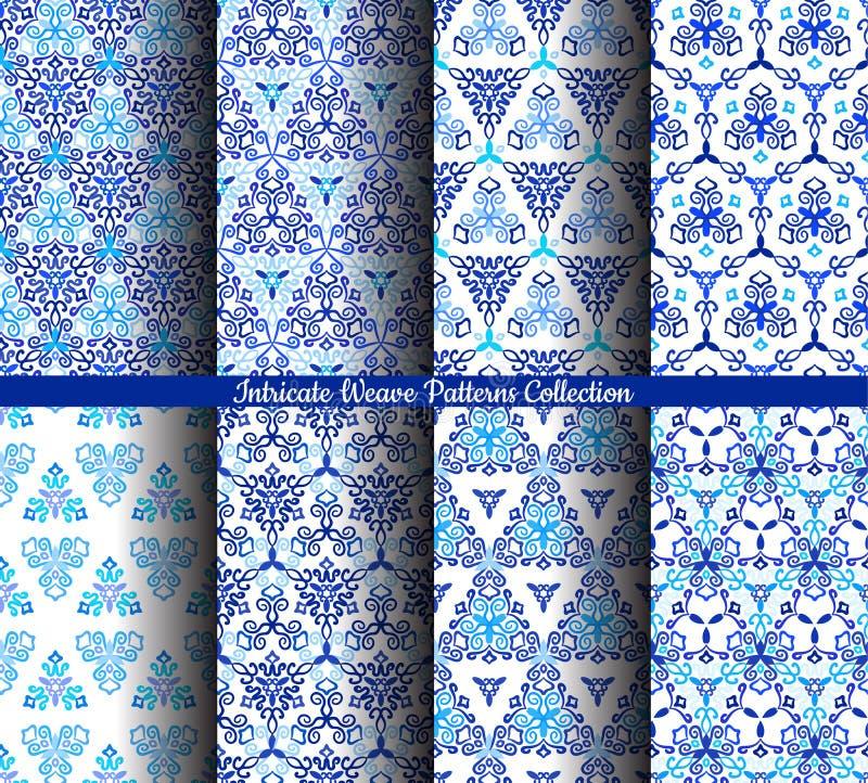 O azul tirado mão do Weave modela a coleção ilustração do vetor