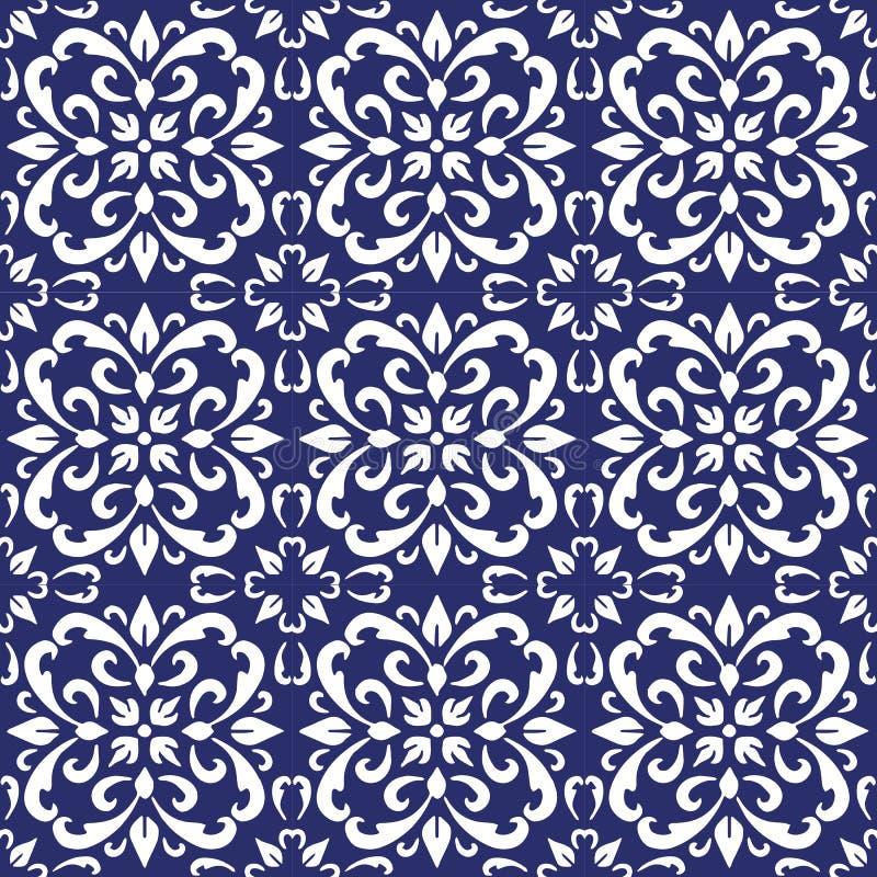 O azulejo, as telhas portuguesas azuis e as telhas marroquinas brancas das telhas, as azuis e as brancas da cozinha, telhas do ba ilustração do vetor