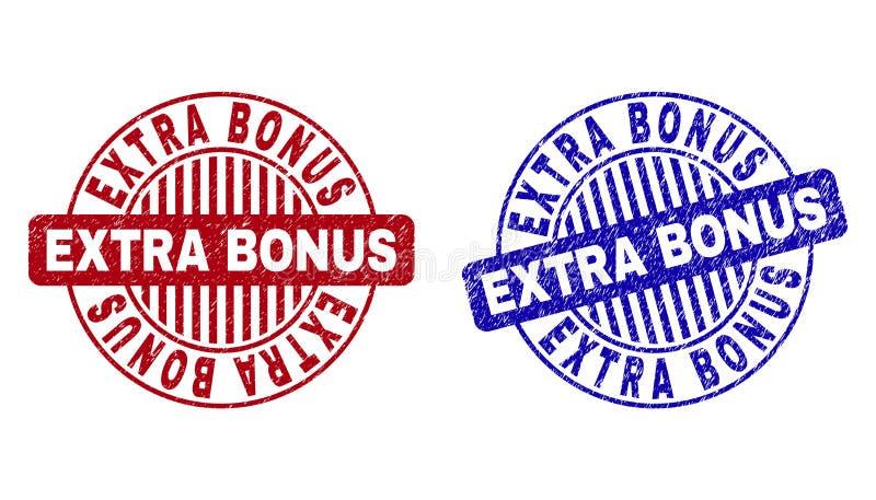 O B?NUS EXTRA do Grunge Textured selos redondos ilustração do vetor