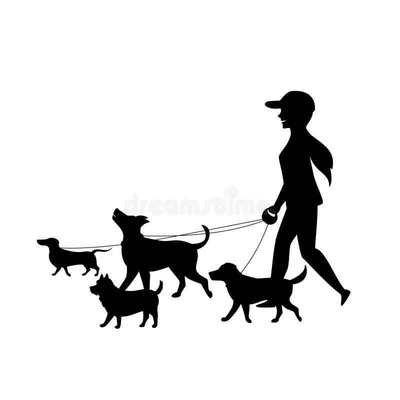 O baby-sitter fêmea do caminhante do cão que anda com grupo de animais de estimação mostra em silhueta o vetor ilustração do vetor