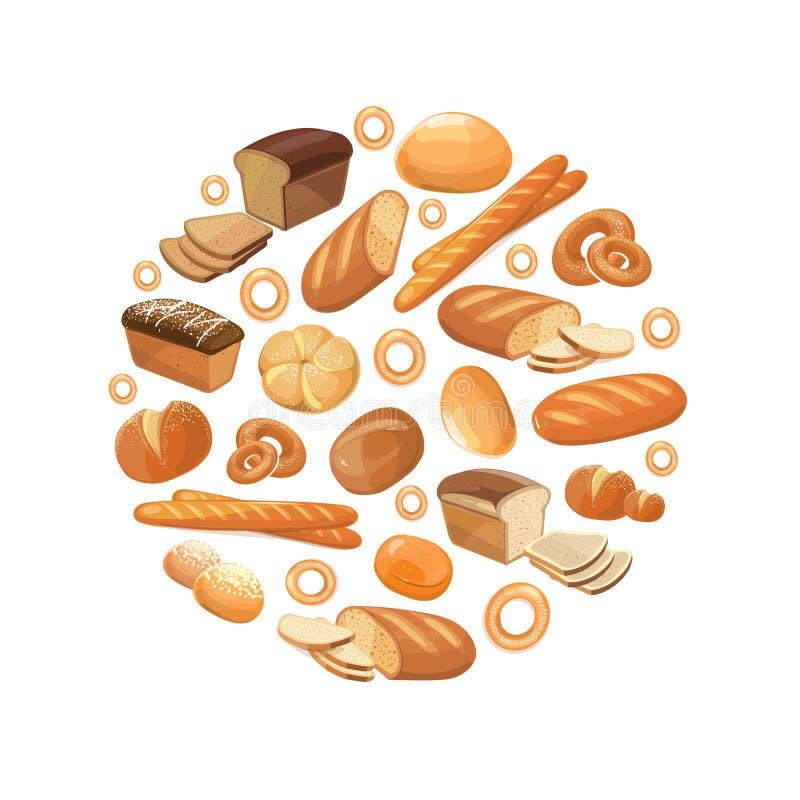 O bagel inteiro da grão do trigo do centeio do pão do alimento cortou ícones franceses do vetor do croissant do baguette no círcu ilustração stock