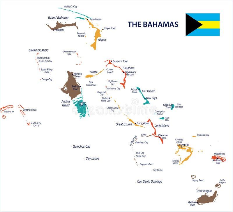 O Bahamas - mapa e bandeira - ilustração detalhada do vetor ilustração royalty free