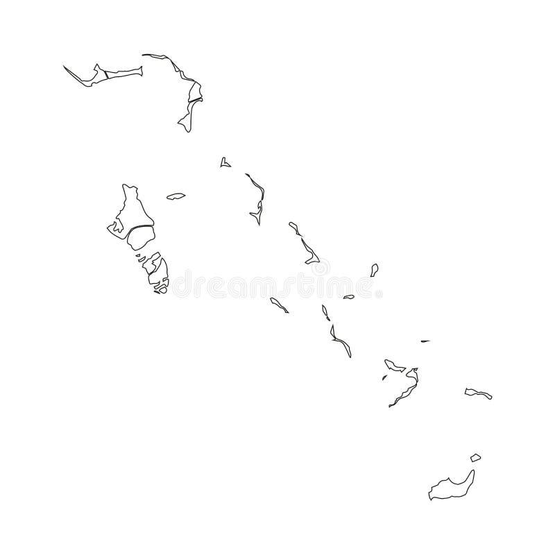O Bahamas - mapa preto contínuo da beira do esboço da área do país Ilustração lisa simples do vetor ilustração stock