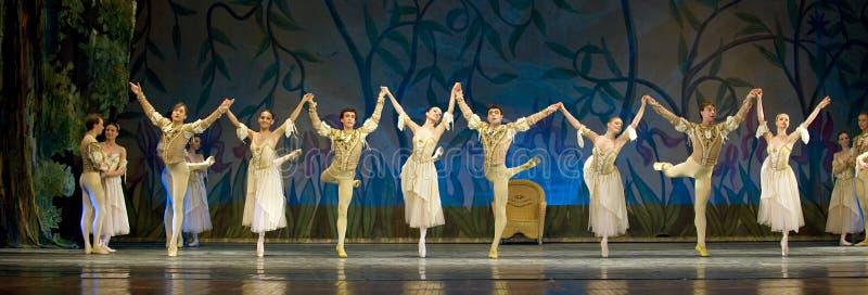 O bailado real do russo executa o lago swan imagens de stock royalty free