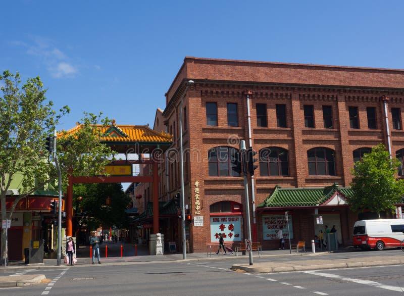O bairro chinês de Adelaide Chinatown ou da rua de Moonta, é ficado situado na rua de Moonta imagem de stock