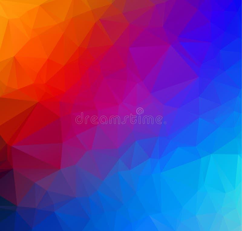 O baixo origâmi poli triangular emaranhado geométrico multicolorido abstrato denomina o fundo do gráfico da ilustração do inclina ilustração stock