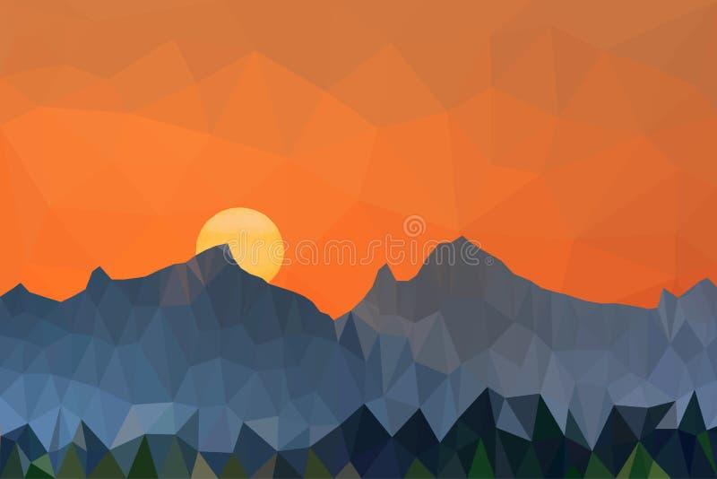 O baixo por do sol poli e as montanhas da ilustração do vetor ajardinam ilustração do vetor