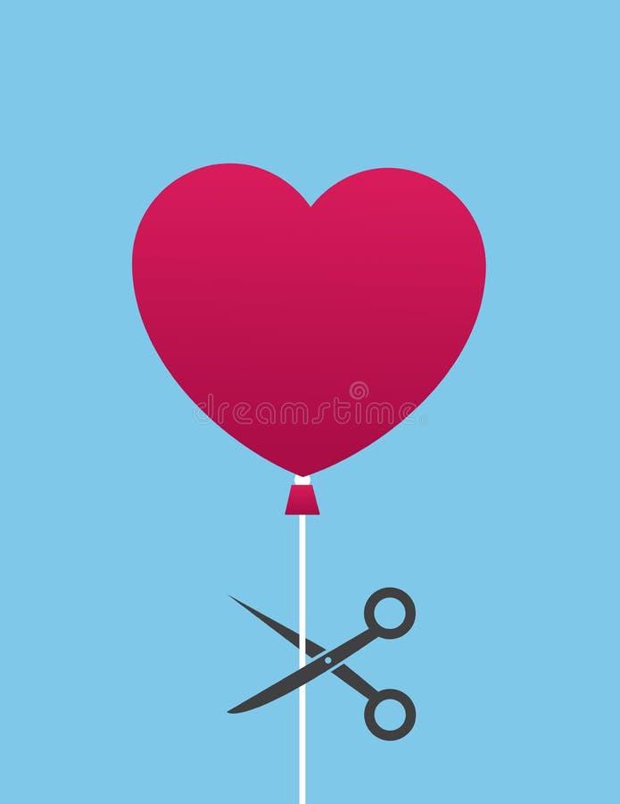 O balão Scissor o coração do corte ilustração stock