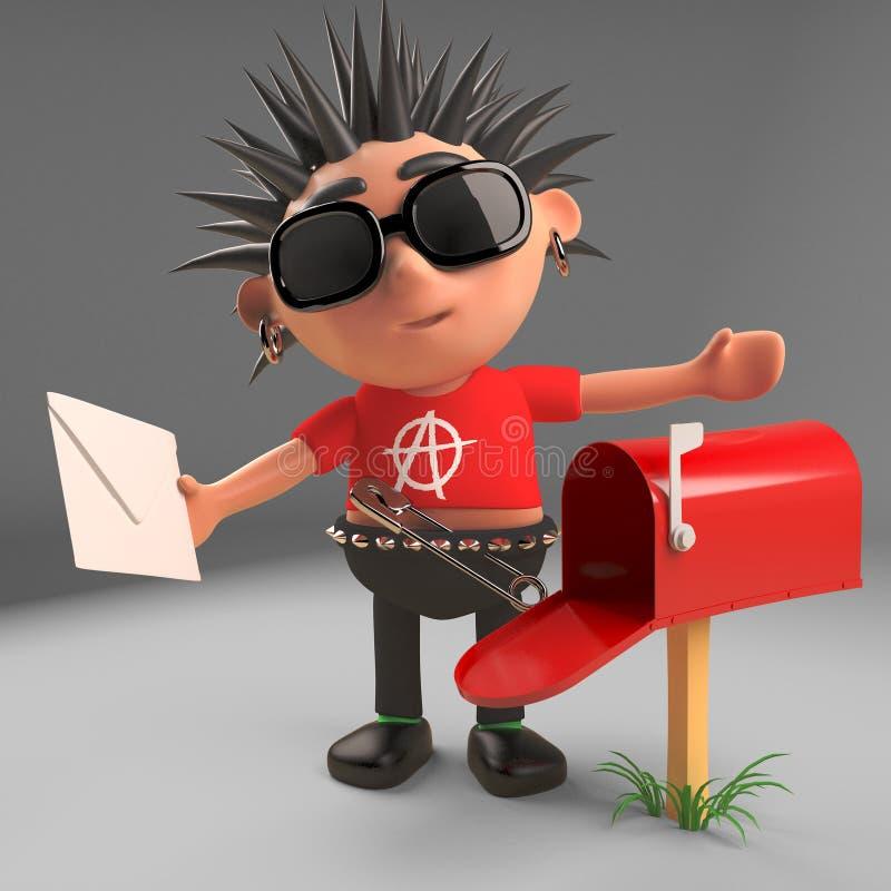 O balancim punk dos desenhos animados é excitado para encontrar o cargo em sua caixa postal, ilustração 3d ilustração royalty free