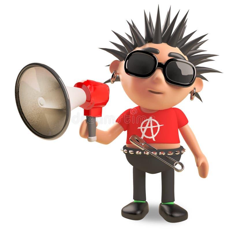 O balancim punk ruidoso está falando através de um megafone amplificado, ilustração 3d ilustração stock