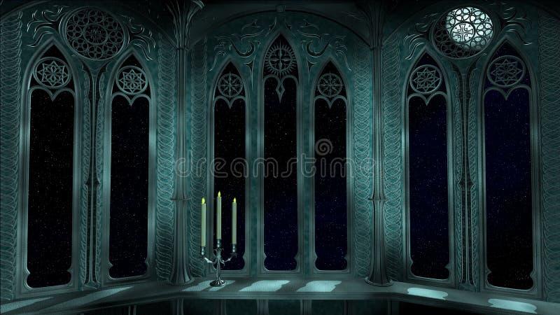 O balcão gótico no castelo velho 3d rende o fundo ilustração royalty free
