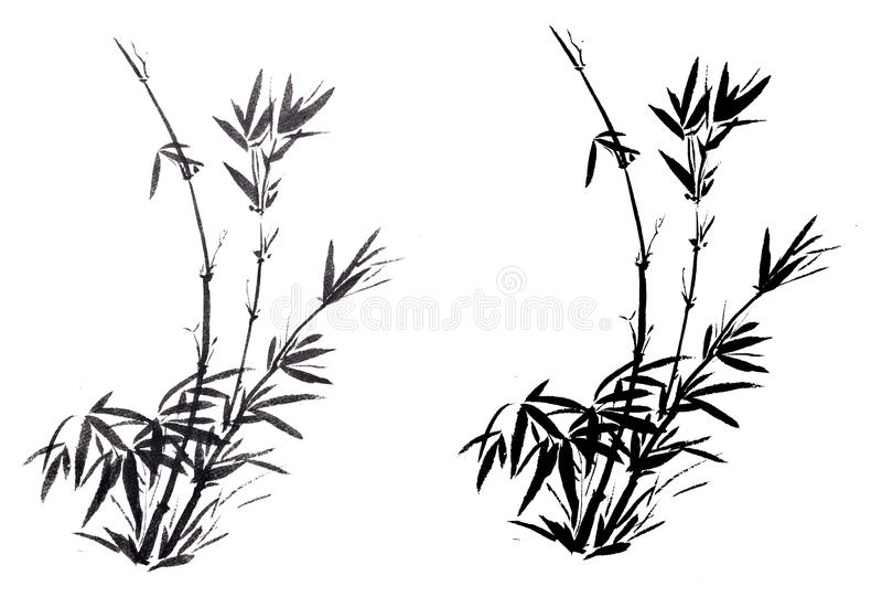 O bambu pintado à mão chinês antigo tradicional fotografia de stock royalty free