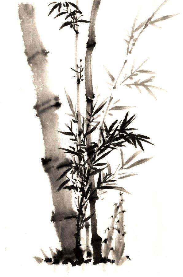 O bambu pintado à mão chinês antigo tradicional foto de stock