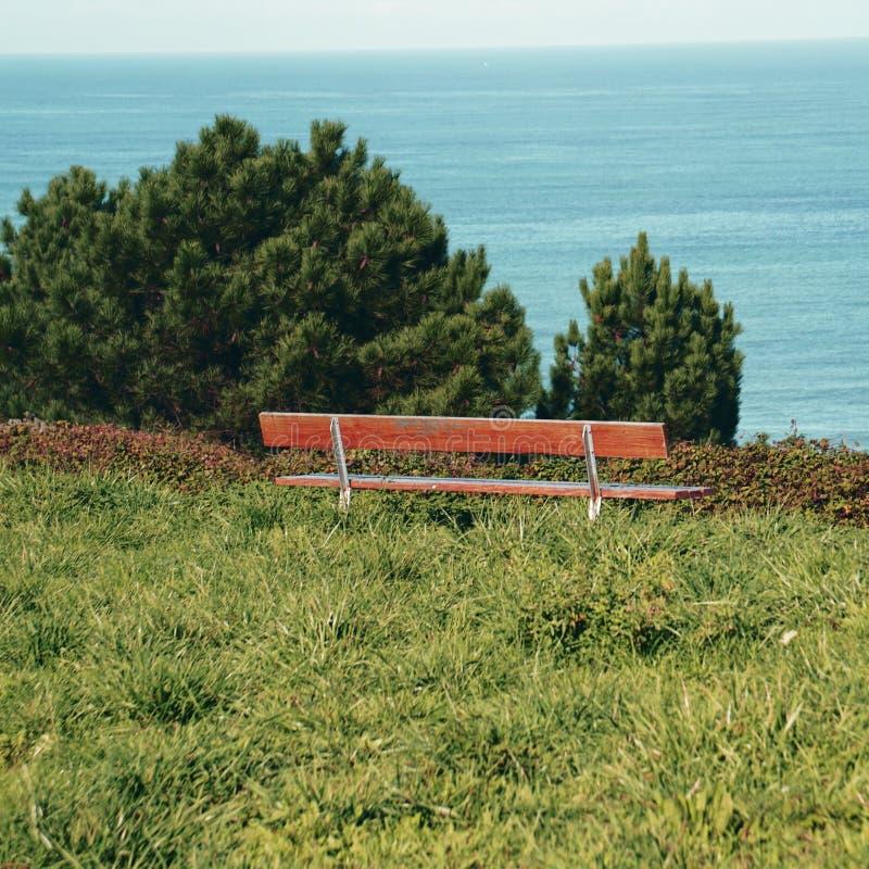 O banco de madeira na natureza foto de stock