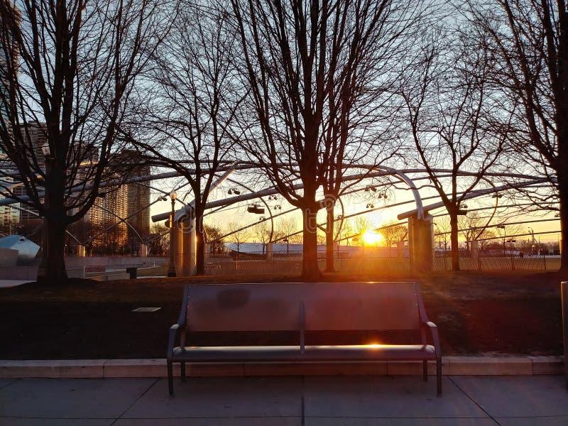 O banco do nascer do sol foto de stock royalty free