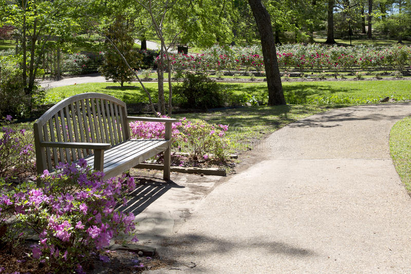 O banco e a aleia projetam no parque cor-de-rosa Tyler fotos de stock royalty free