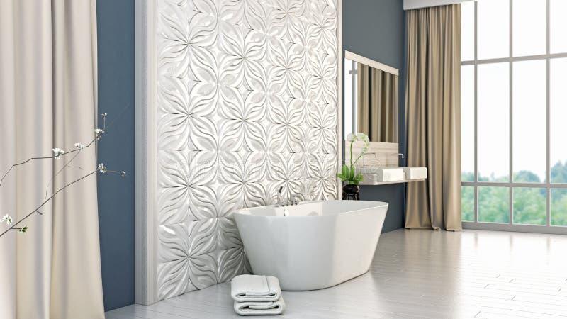 O banheiro brilhante moderno 3D rende ilustração royalty free