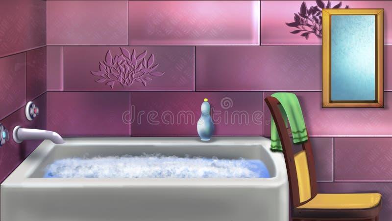 O banheiro das crianças no rosa ilustração royalty free