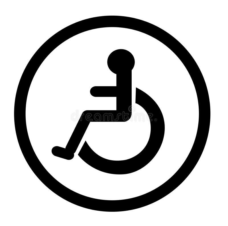 O banheiro para pessoas com inabilidades, toalete deficiente, banheiro assina ilustração stock