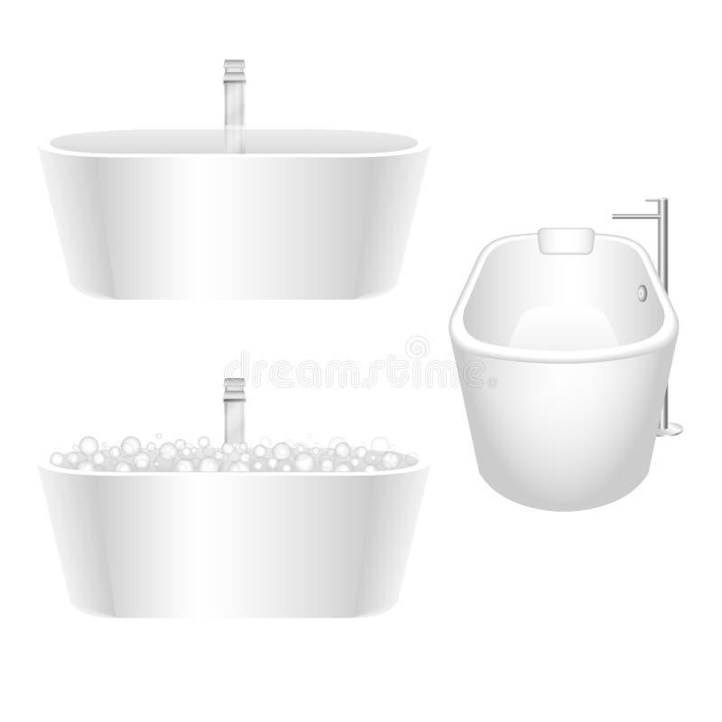 O banho branco separado ajustou-se com a torneira de água lustrosa do cromo ilustração stock