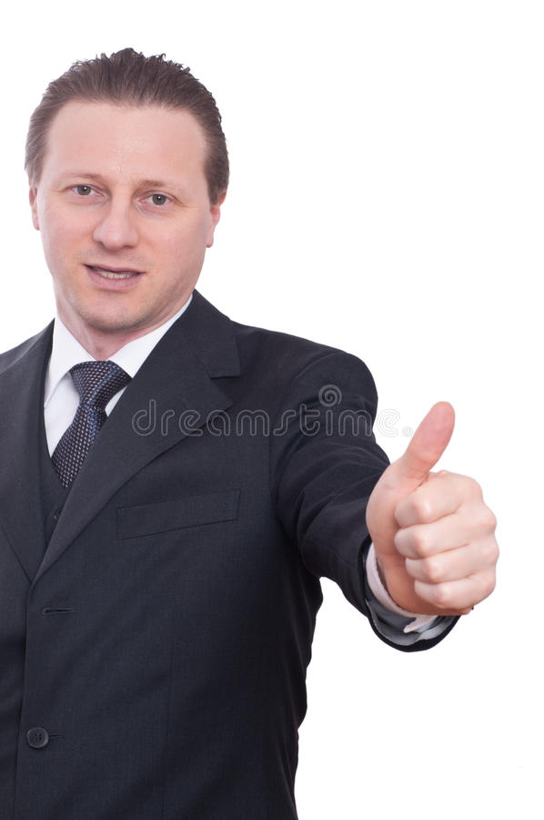 O banqueiro está levantando seu polegar acima fotografia de stock
