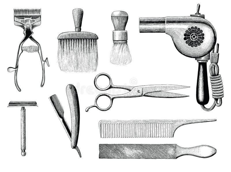 O barbeiro do vintage utiliza ferramentas o estilo da gravura do desenho da mão ilustração stock