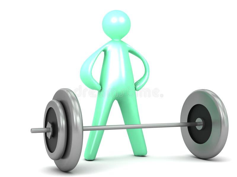 O barbell de levantamento torna mais pesados desenhos animados do exercício ilustração do vetor
