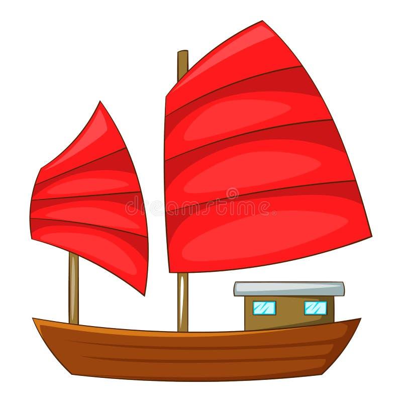 O barco da sucata com vermelho navega o ícone, estilo dos desenhos animados ilustração stock