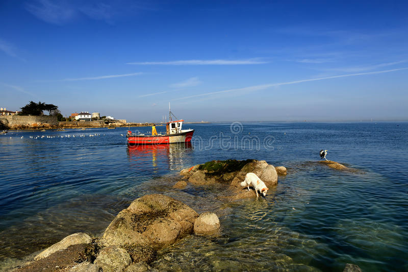 O barco de pesca passa rochas imagem de stock royalty free