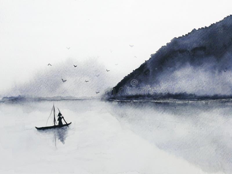 O barco e a ilha de pesca da aquarela com montanhas enevoam o voo dos pássaros no céu Oriental tradicional estilo da arte de Ásia ilustração royalty free