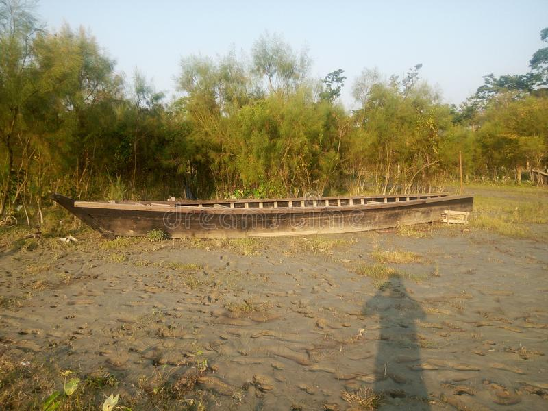 O barco fez pela madeira fotos de stock