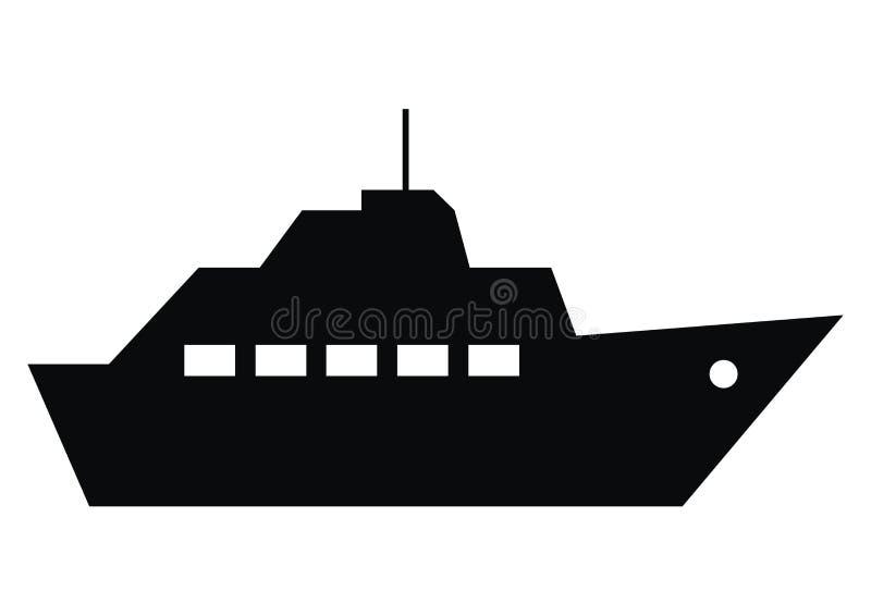 O barco tropeça, silhueta preta do barco a vapor, ícone do vetor ilustração royalty free