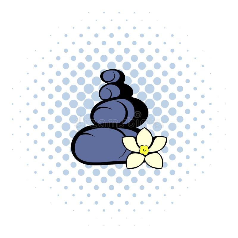 O basalto do zen apedreja o ícone, estilo da banda desenhada ilustração royalty free