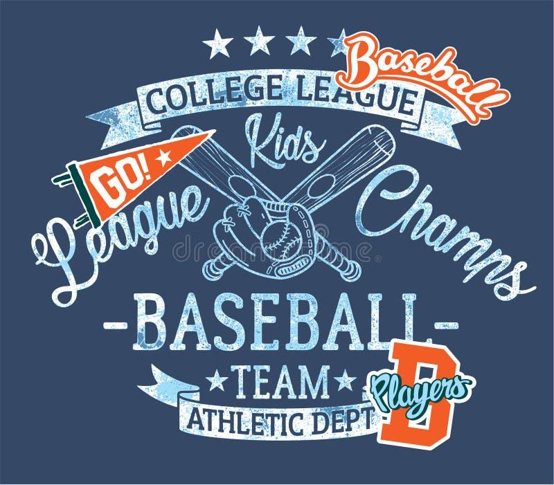 O basebol caçoa campeões da liga da equipe ilustração do vetor