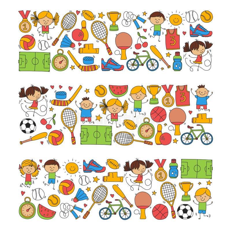 O basebol da concessão do corredor da bicicleta do basquetebol do tênis do voleibol do futebol da aptidão do esporte das crianças ilustração do vetor