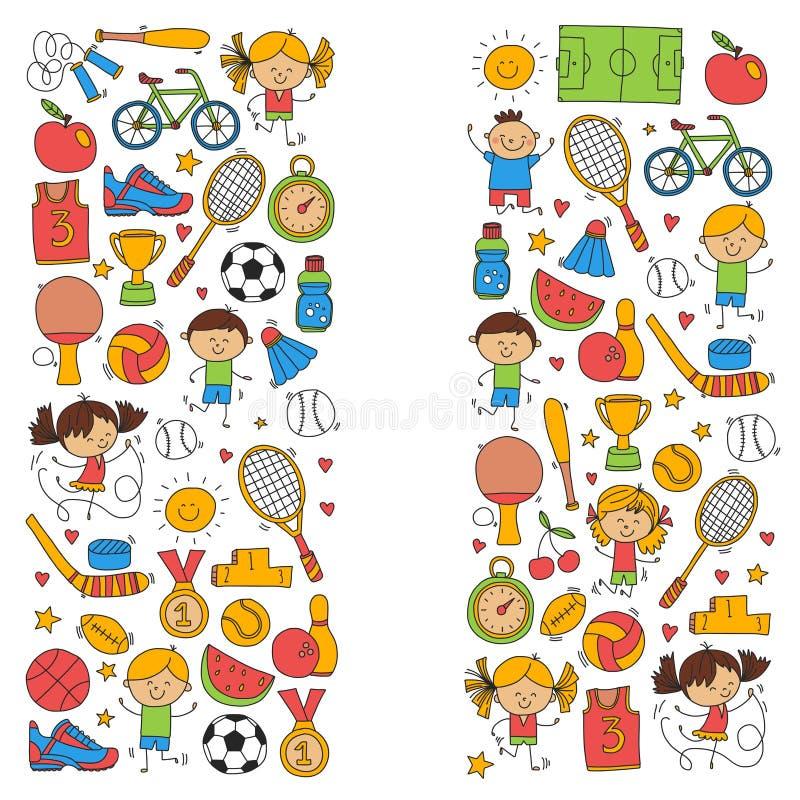 O basebol da concessão do corredor da bicicleta do basquetebol do tênis do voleibol do futebol da aptidão do esporte das crianças ilustração royalty free