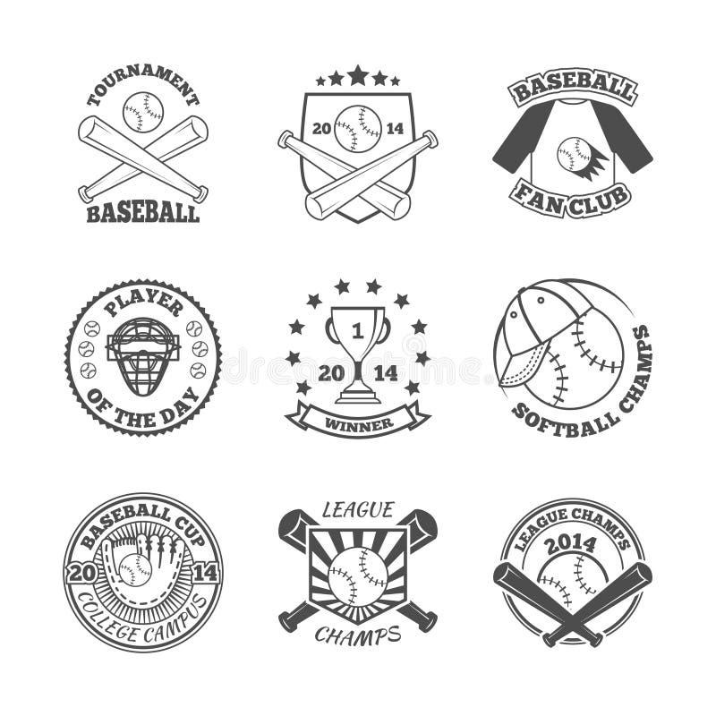 O basebol etiqueta ícones ajustados ilustração royalty free