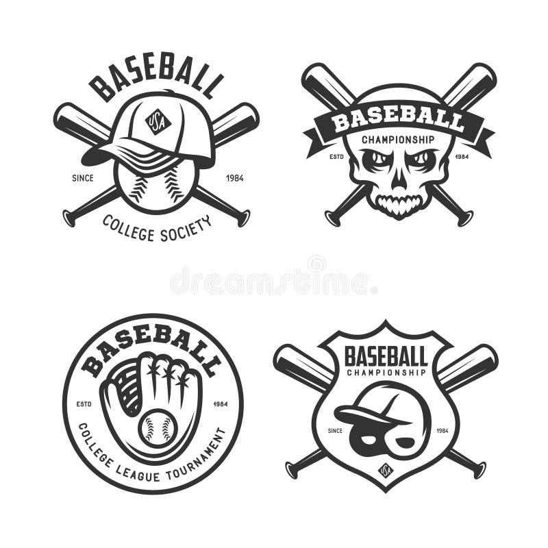O basebol etiqueta emblemas dos crachás ajustados Ilustração do vintage do vetor ilustração stock